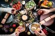festive christmas table food hands celebration drink