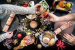 festive christmas table food hands celebration drink