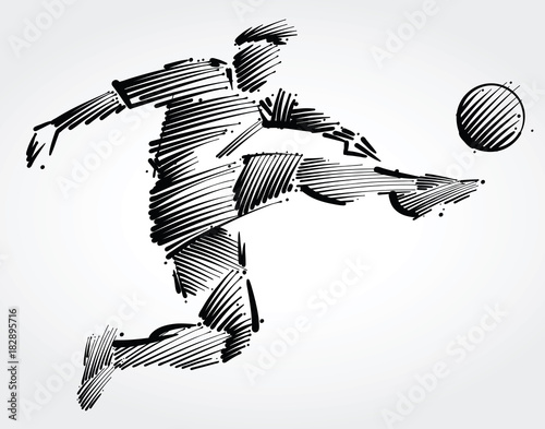 Fototapeta soccer player flying to kick the ball made of black brushstrokes on light backgr