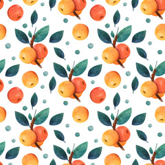 FototapetaSeamless pattern of apples and leaves. Background. Botany. Watercolor