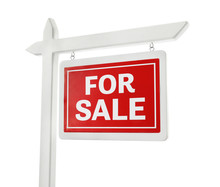 """For Sale"" Sign On White Background"