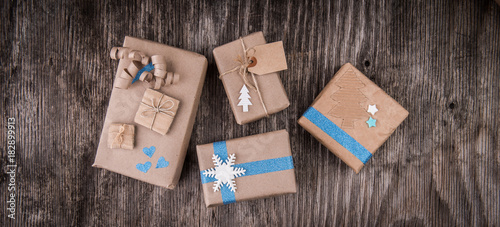 Gifts Boxes In Decorative Wrapping Paper Buy This Stock Photo And