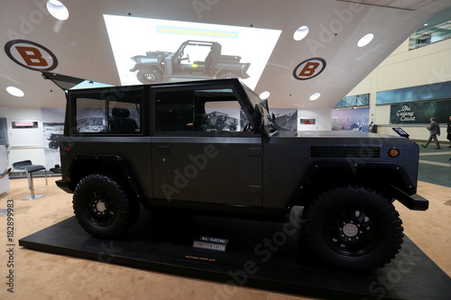 A 2020 All Electric Wheel Drive Bollinger Motors Truck Is Shown At
