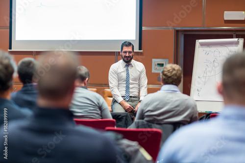 Fotografie, Obraz  Relaxed Businessman Giving a Talk at Informal Business Meeting
