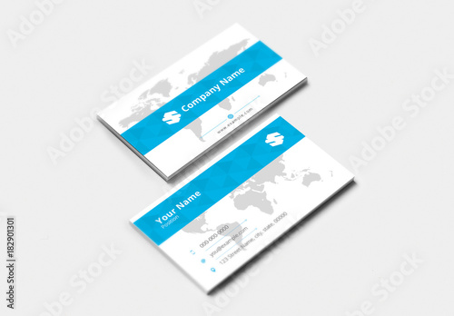 Business Card With Blue Accents And World Map Background Buy This