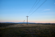 Line Of Electricity Poles In A...