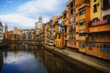 Riverside of Girona with colorful houses