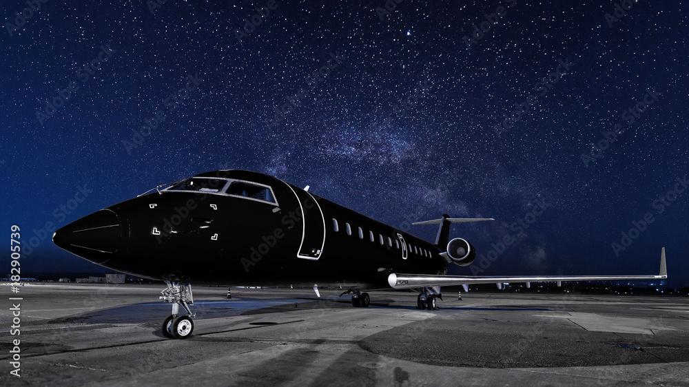 Fototapety, obrazy: business jet. black plane is parked