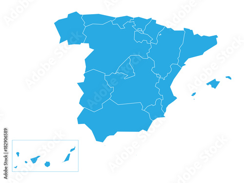 Spanish map devided to 17 administrative autonomous communities. Simple flat blue vector map.