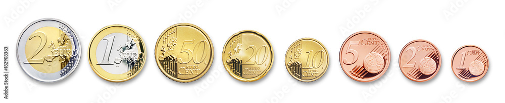 Fototapeta euro coins, isolated on white,  with shadow