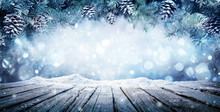 Winter Display - Fir Branches On Snowy Table