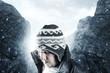 canvas print picture Erschöpfter Wanderer vor den Bergen und Nebel senkt den Kopf