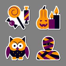 Halloween Icon Sticker Set Pat...