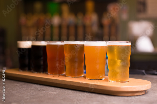 Photo  Rainbow color beer taster tray