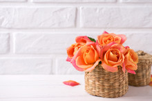 Bunch Of Fresh Orange Roses  O...