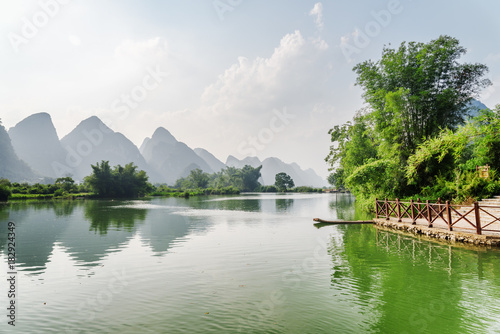 Beautiful view of the Yulong River and karst mountains, Yangshuo