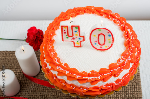 Photo Decorated cake with 40 candle