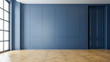 canvas print picture - Modern vintage interior of living room,parquet flooring and blue wall,empty room  ,3d rendering