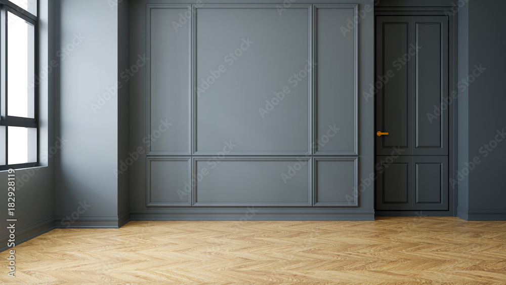 Fototapety, obrazy: Vintage Modern  interior of living room, empty room, dark gray wall and wood flooring  ,3d rendering