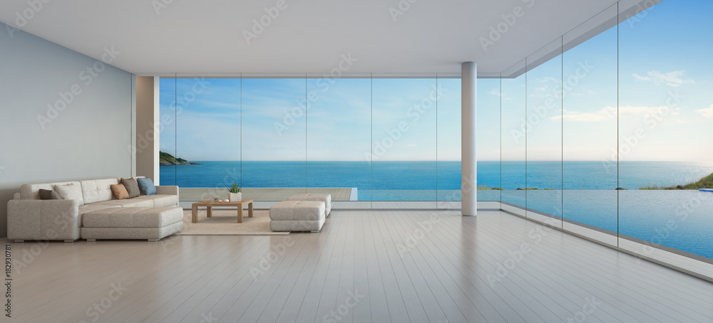Fototapeta Large sofa on wooden floor near glass window and swimming pool with terrace at penthouse apartment, Lounge in sea view living room of modern luxury beach house or hotel - Home interior 3d illustration