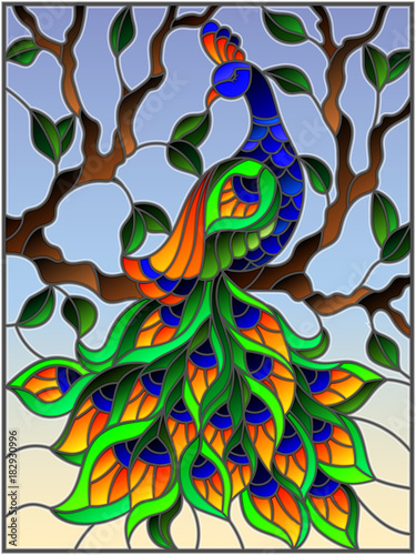 ilustracja-w-witrazu-stylowym-ptasim-pawia-i-galaz-na-tle-niebieskie-niebo
