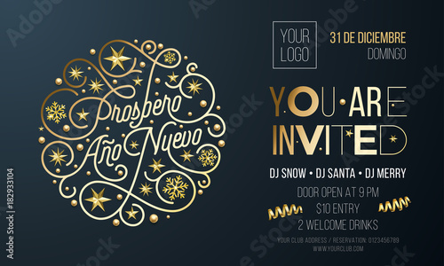 spanish new year party invitation for holiday celebration design template vector new year ano nuevo