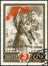 USSR - 1945: Shows Soldier With Red Flag, Battle Of Stalingrad, Hero City, Second Anniversary Of Victory At Stalingrad