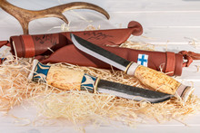 Traditional Finnish Belt Knives (Puukko) With Curving Cutting Edge And Leather Sheath Hand Crafted From Wood, Reindeer Horn And Steel, Finland's 100 Years Celebration