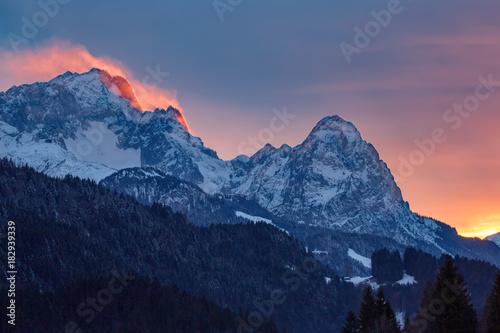 Fotomural Alpenglühen auf der Zugspitze