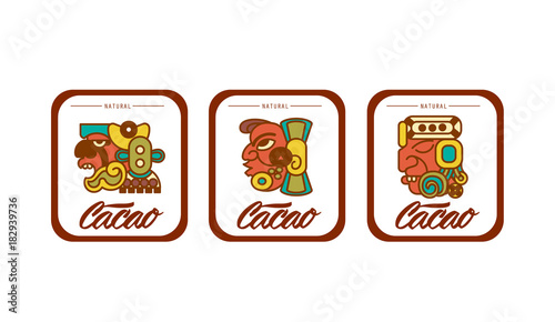 Photo Vector illustration aztec cacao pattern collection for chocolate package design