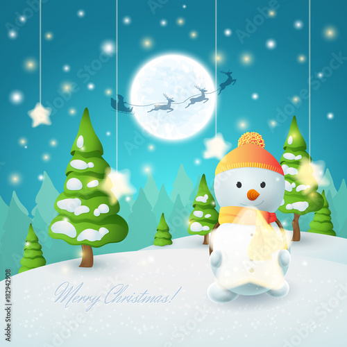 Cartoon winter landscape with a Snowman and shining stars ...