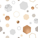Marble gold seamless pattern for geometric poster, repeat background in trendy minimalist style with stone, hexagon, foil, glitter, metallic textures, vector illustration - 182944528