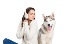 Husky Dog And Woman In Winter ...