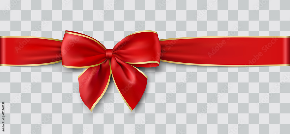 Fototapeta red ribbon and bow with gold for Christmas, vector illustration