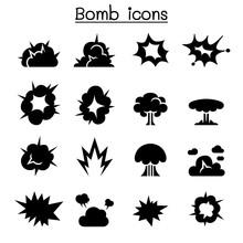 Bomb & Explosion Icon Set Vect...