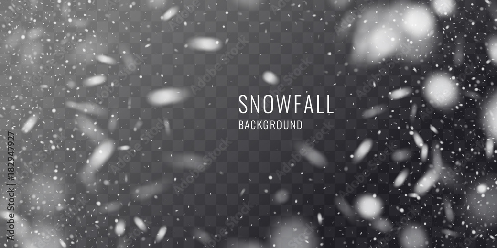 Fototapety, obrazy: Vector realistic snowfall against a dark background. Transparent elements for winter cards