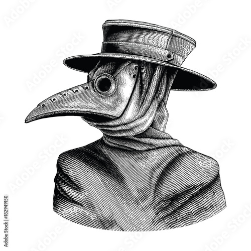 Obraz na plátně  Plague doctor hand drawing vintage engraving isolate on white background