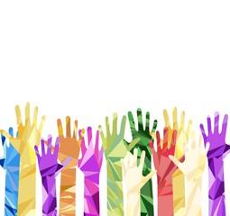 silhouette of hands raised upwards