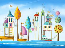 Watercolor Magical Houses (cit...