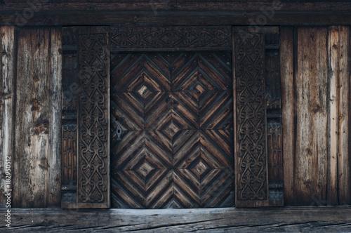 Photo  Old carved traditional Norwegian door