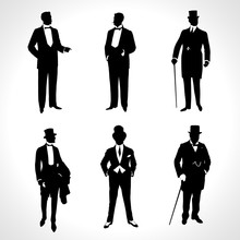 Set Of Male Silhouettes Retro1920s, Upper Classes. Vintage Gentlemen Collection