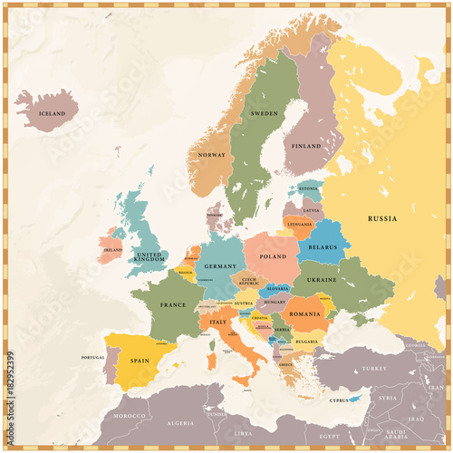 Photo  Vector Vintage Europe Map
