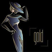 Gold Neon Fashion Woman Silhou...