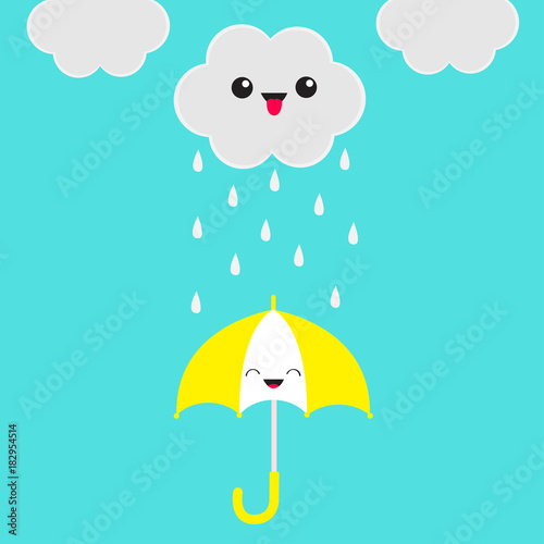 Photo Stands Turquoise Smiling laughing umbrella. Cute cartoon kawaii cloud with rain drops. Showing tongue emotion. Eyes and mouth. Isolated. Blue sky background. Baby funny character emoji collection. Flat design.