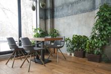 Cafe Interior With Green Decor