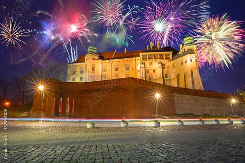 Fototapeta New Years firework display in Krakow, Poland obraz