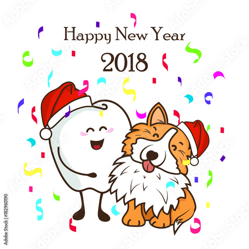 dental poster happy new year 2018 cute characters dog the corgi and the tooth in