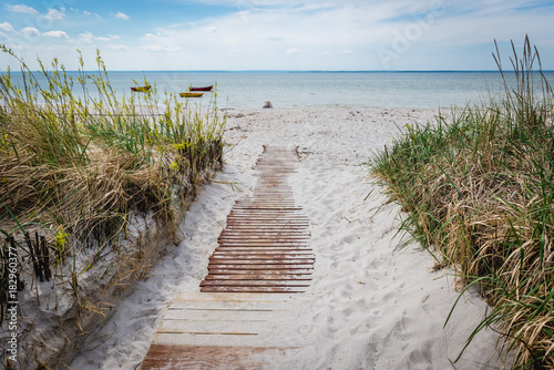 Sandy beach on Hel Peninsula in Poland, view on Bay of Puck