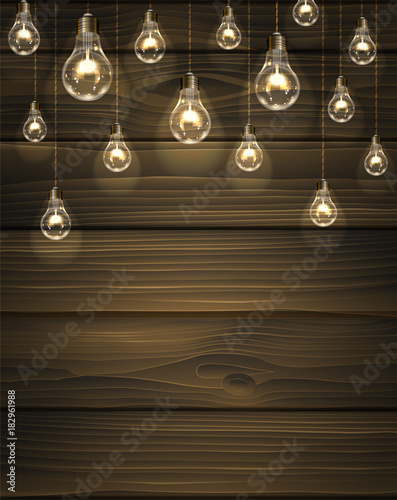 Fototapety, obrazy: Brown vector wooden background with light bulbs. Edison's lamps hang on wires from the ceiling and illuminate the space for your text.