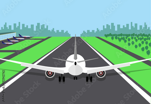 Passenger plane at the beginning of the runway, preparing for take off Canvas Print